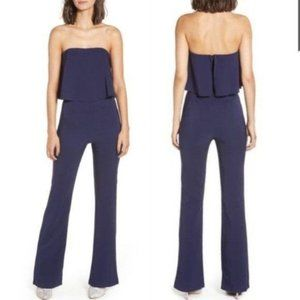 NWT Socialite Popover Strapless Ruffle Jumpsuit L